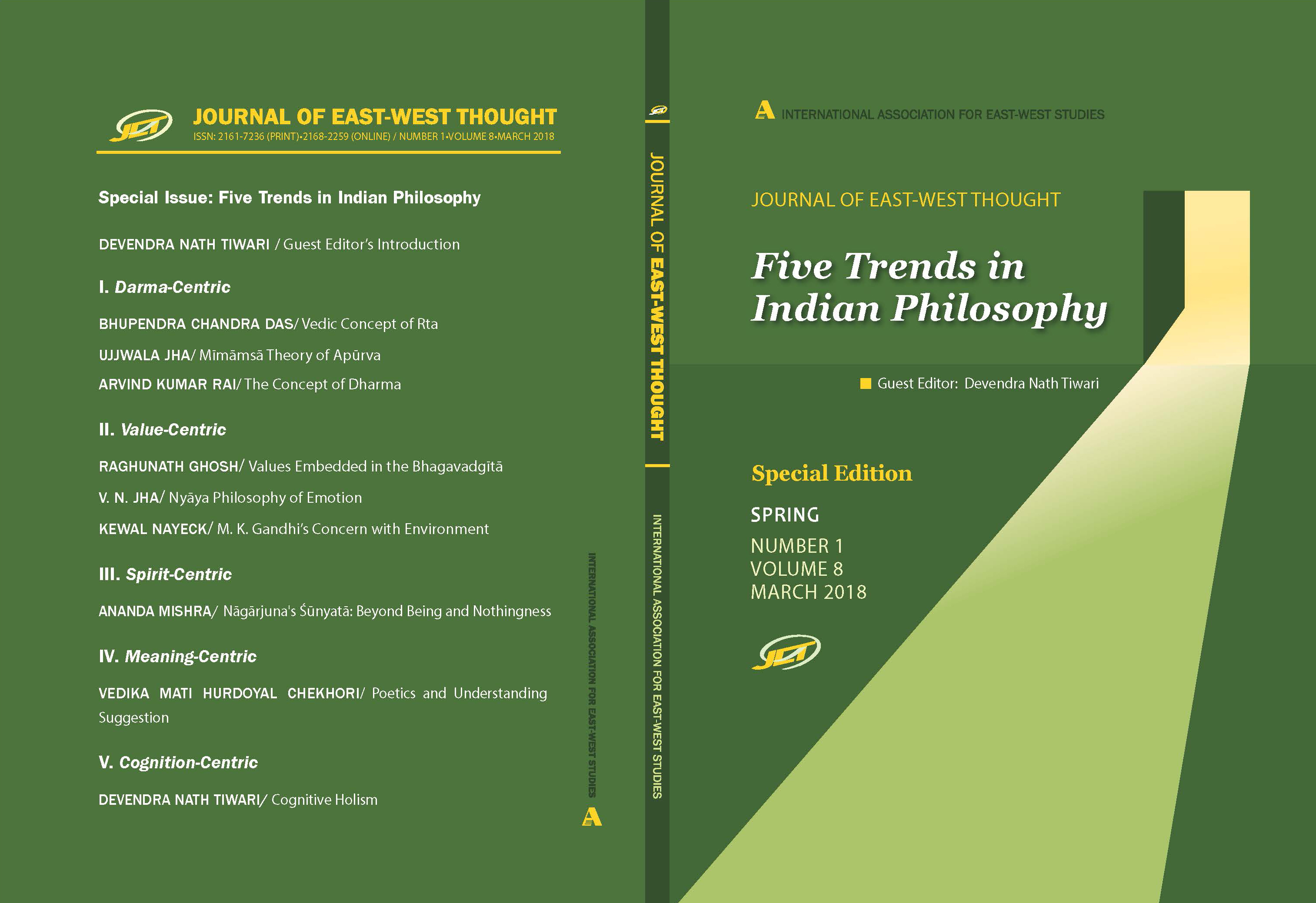 Front and back cover of the Journal of East West Thought