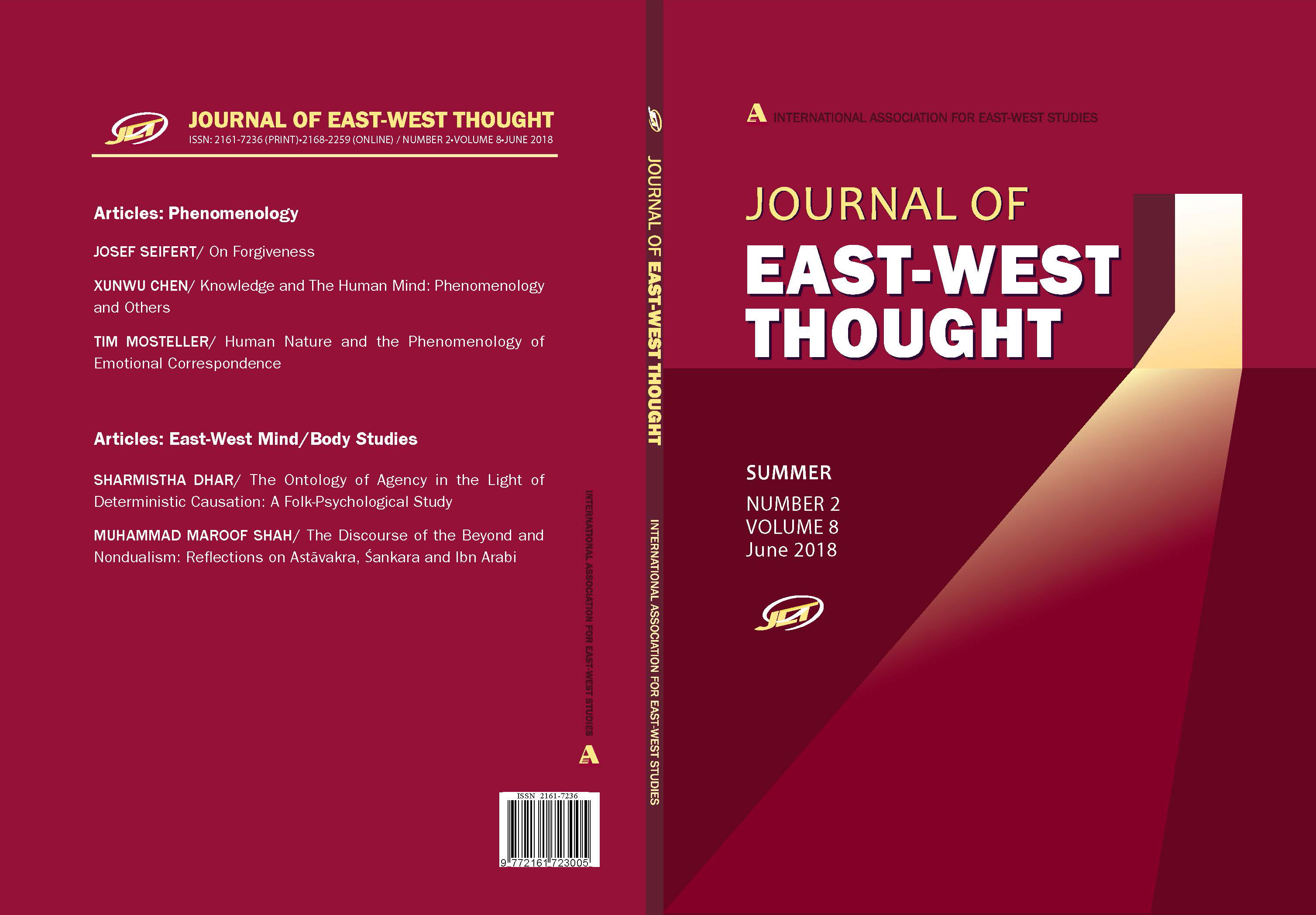 Front and back cover of the Journal of East West Thought Volume 8, Number 2, 2018