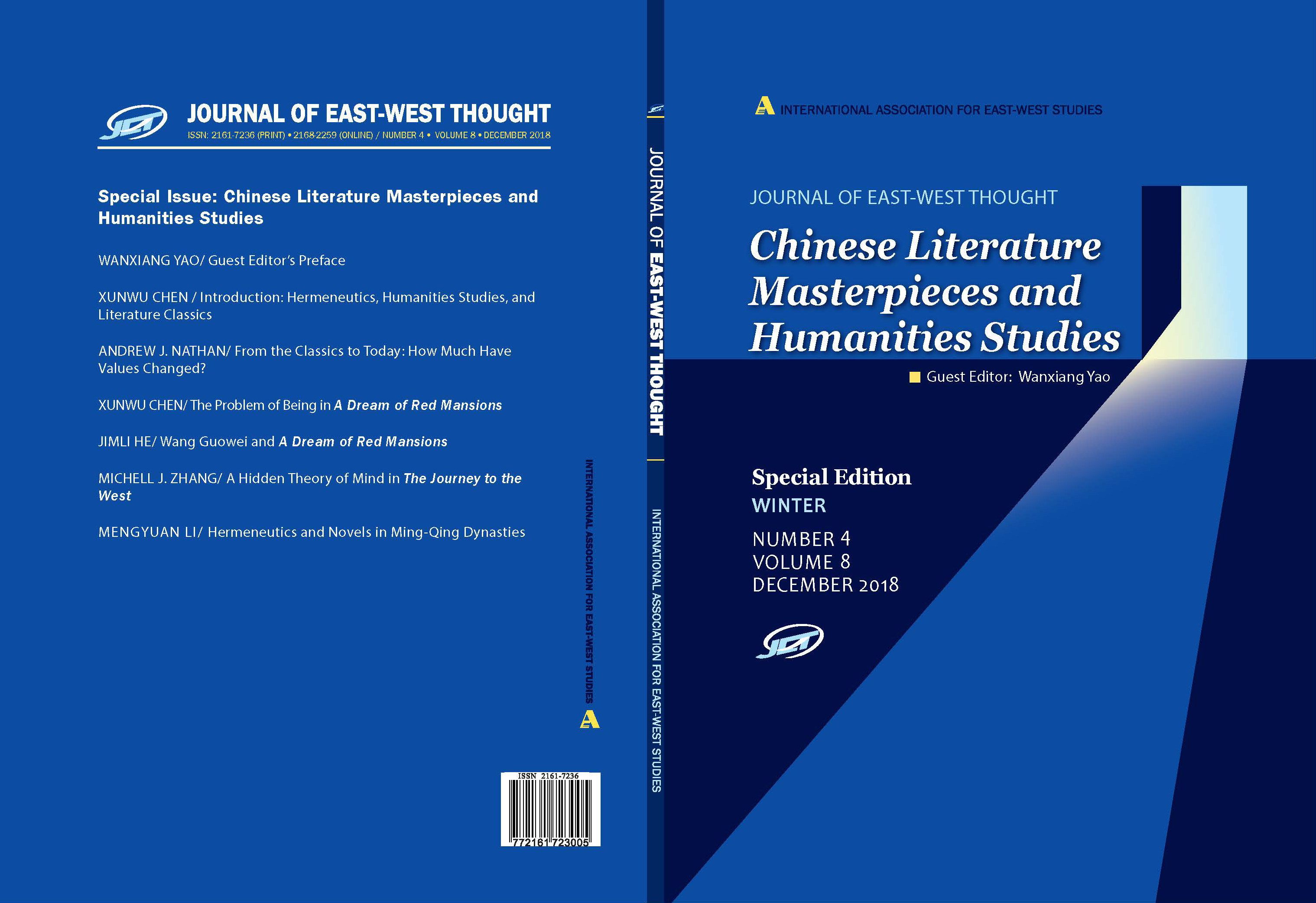 Front and back cover of the Journal of East West Thought Volume 8, Number 4, 2018