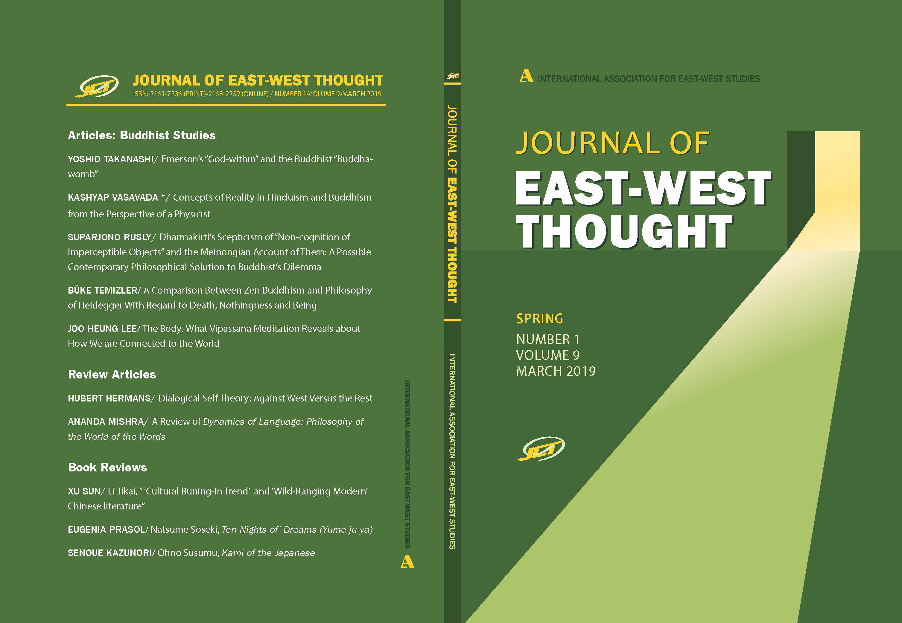 Front and back cover of the Journal of East West Thought Volume 9, Number 1, 2019