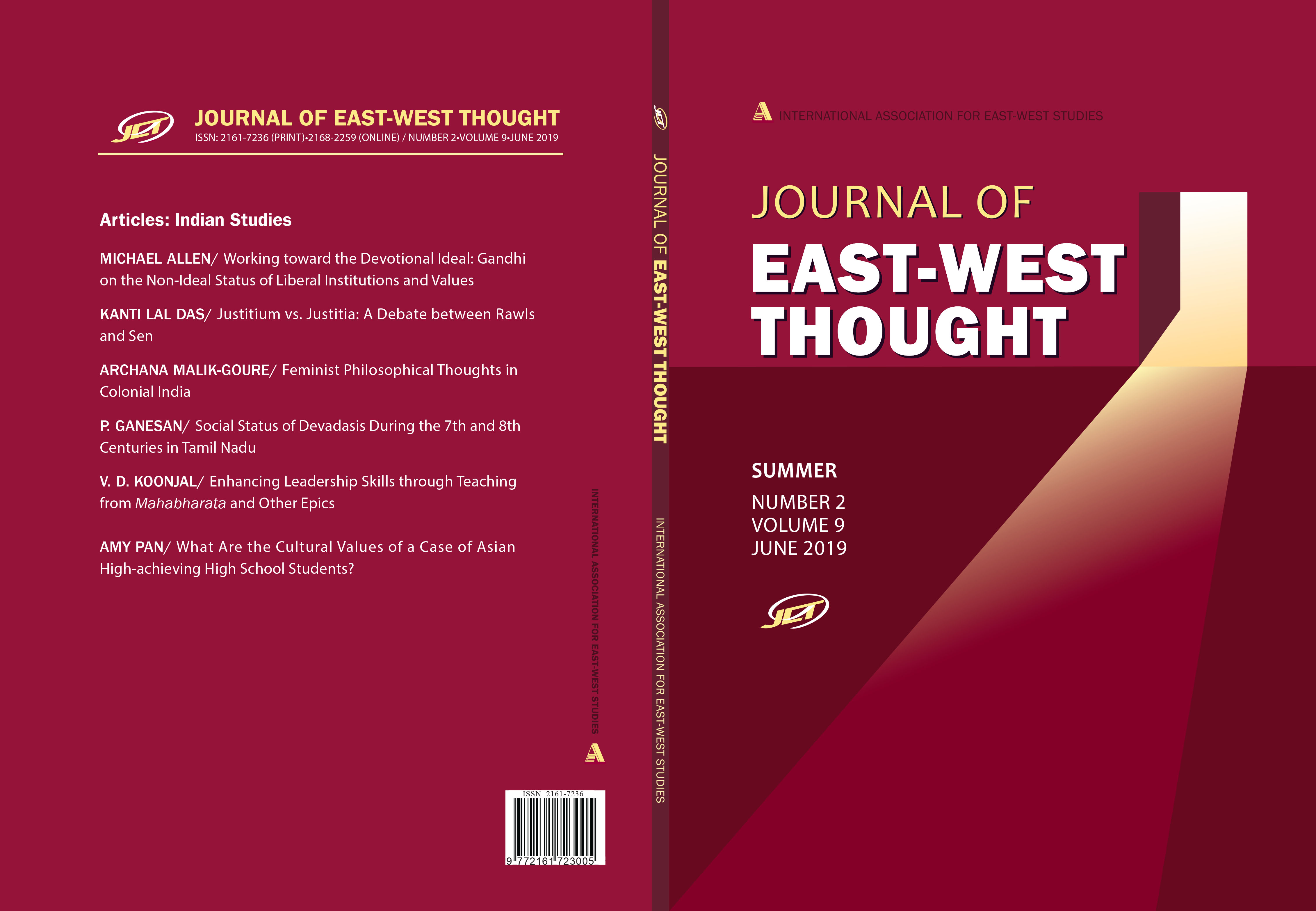 Front and back cover of the Journal of East West Thought Volume 9, Number 2, 2019