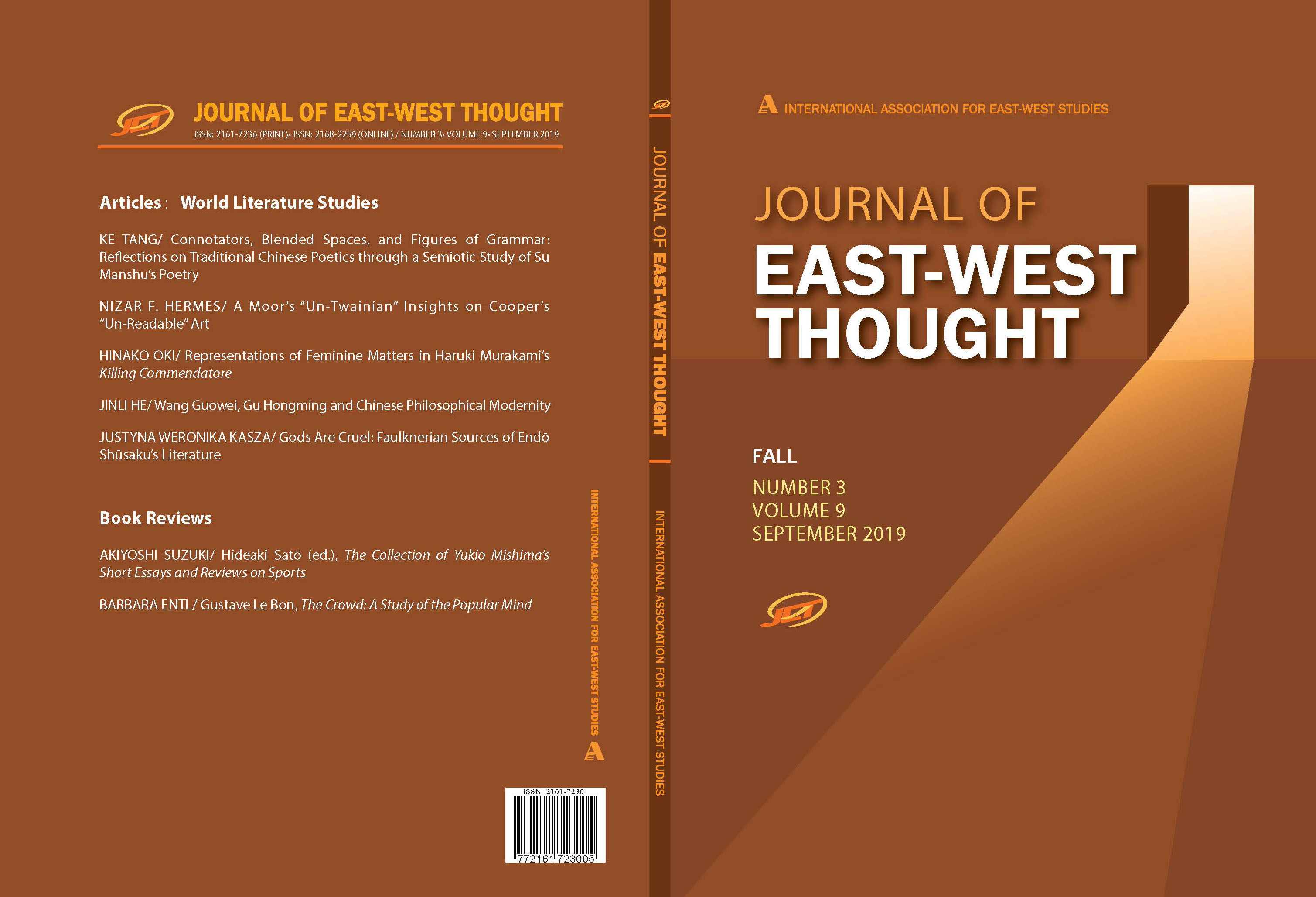 Front and back cover of the Journal of East West Thought Volume 9, Number 3, 2019