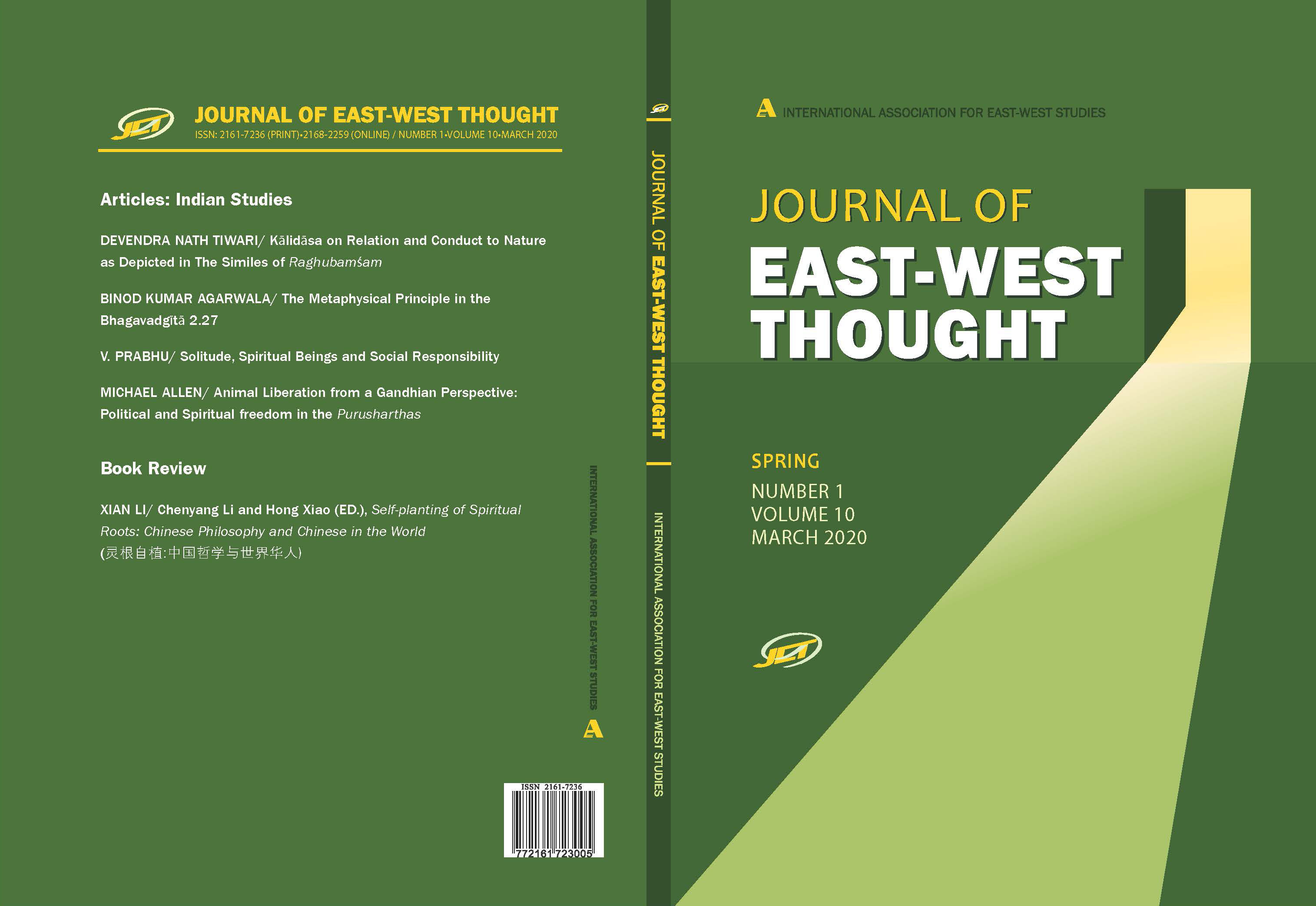 Front and Back cover of Journal of East-West Thought Volume 10 issue 1, Spring 2020